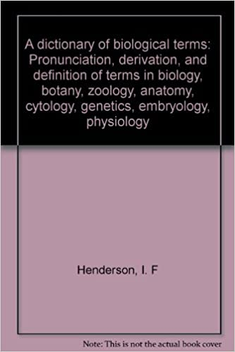 A Dictionary Of Biological Terms Pronunciation Derivation And