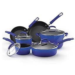 Rachael Ray Porcelain Enamel II Nonstick 10-Piece Cookware Set, Blue Gradient