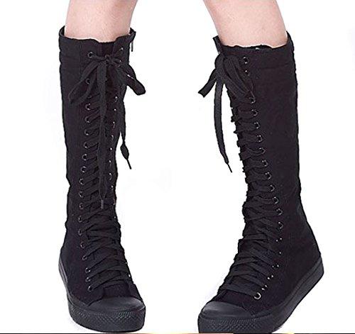negro Lona Plano Zapatos Zapatos Mauea Botas De Para Los Cordones Mujeres Tamaño Mujer Deporte 39 Lona de Bailar con 35 Zapatos Zapatos De De Largo 6X7SIwn47