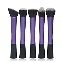 Dulcii Makeup Brushes Spiral Eye-shadow Foundation Oval Make Up Brush Set Cosmetic Tools Kits,5 Piece Set (Purple)