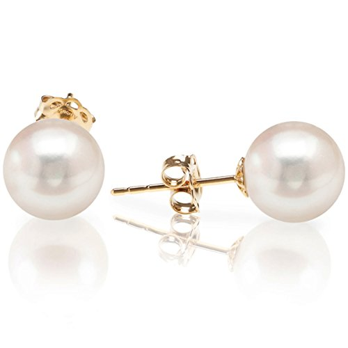 PAVOI 14K Yellow Gold Freshwater Cultured Round Pearl Stud Earrings - Handpicked AAA Quality - 8mm