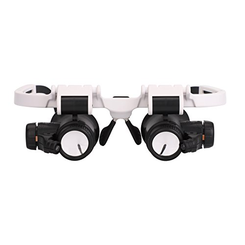 - ITODA Head Mount Magnifier with 2 LED Light, Hand Free Bracket Glasses with Adjustable Zoom Magnification (8X, 15X, 23X) for Reading, Maps, Jewelry, Watch, Craft