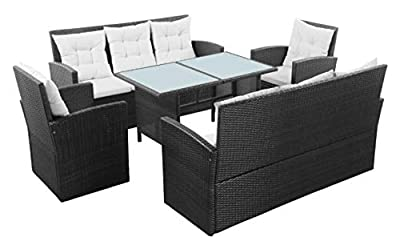 K&A Company Outdoor Furniture Set, 5 Piece Garden Lounge Set with Cushions Poly Rattan Black
