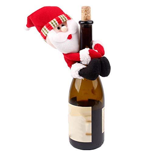 Noon-Sunshine decorative-plaques Christmas Wine Bottle Cover Snowman Santa Claus Bottle Cover Dinner Table Christmas Decorations,Small Santa Claus
