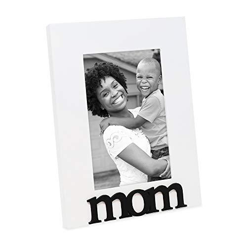 Isaac Jacobs White Wood Sentiments Mom Picture Frame, 4x6 inch, Photo Gift for Mother, Family, Display on Tabletop, Desk (White)