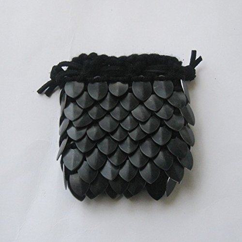 Scalemail Dice Bag in knitted Dragonhide Armor- Black