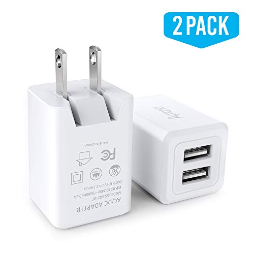 USB Wall Charger, Amoner UL Certified Dual USB 2-Pack 2.1A Wall Charger with Foldable Plug, Fast Travel Charger Cube Compatible with iPhone Xs/XS Max/XR/X/8/7/6S/6S Plus, iPad, Galaxy S9 S8 and More