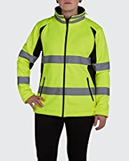 Utility Pro UHV668 Ladies High-Vis Safety Full-Zip Soft Shell Jacket with Waterproof DuPont Teflon, Yellow, X-