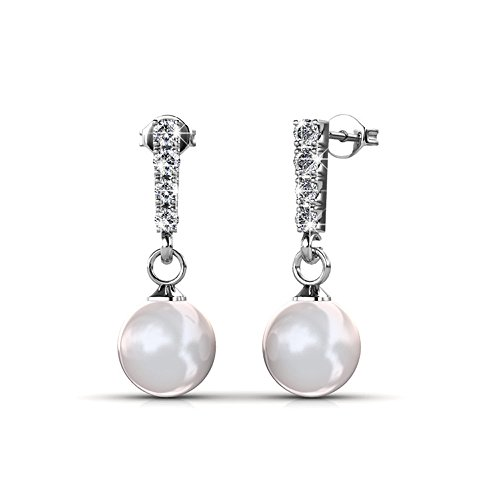 Cate & Chloe Gabrielle 18K White Gold Earrings with Swarovski Crystal & Pearls, Drop Dangle Pearl Stud Earring Set, Wedding Anniversary Special Occasion Jewelry, Silver Earrings for Women - MSRP $131