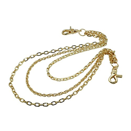 (Uniqsum Simple Slim Triple wallet chain Swivel Trigger snap Lightweight Biker Punk Key chain (Gold))