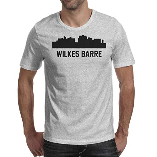 Rjodosa Men's Wilkes Barre Pennsylvania Skyline Cityscape Short Sleeve t-Shirts University Total Printed Tee Shirt (Apparel Wilkes University)