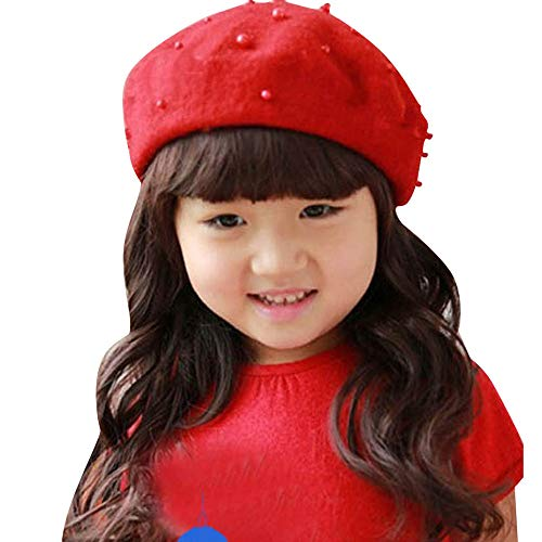 - Amaping Baby Girls Winter Warm Knitting Woolen Beret Cap with Pearl Spot Decor (Red)