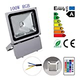 GEROWA Flood Light 100W Waterproof RGB LED Flood Light Memory Function 16 Colors and 4 Modes Switchable for Outdoor, Advertising, Garden, LED Floodlight, Wall Washer Light, Home, Scenic Spot, Hotel