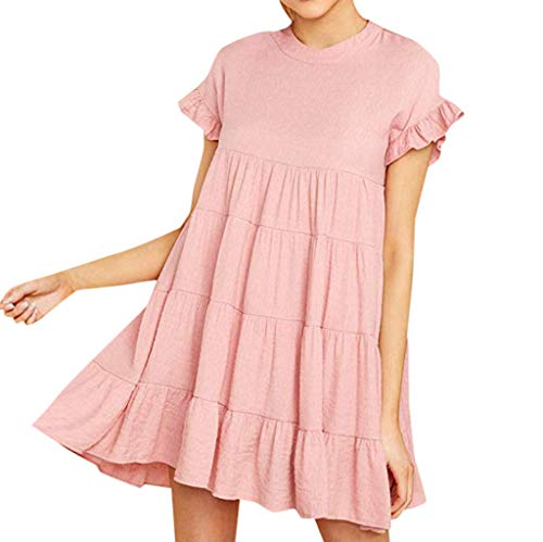 Dress Casual Plain Simple T-Shirt Loose Dress Ruffle Sleeve Casual Plain Short Sleeve Dress Casual Swing Party Dress Womens (S,6- Pink) (Tree Topper Angel Simple)
