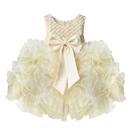 TIAOBU Baby Girls Flower Wedding Pageant Princess Bowknot Communion Party Dress Beige 9-12 Months