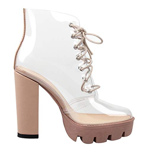 OLCHEE Women's Fashion Clear Lace Up Ankle Boots - Transparent TPU Platform Block High Heels - Beige Size 9.5