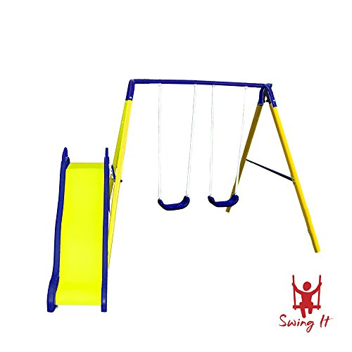 Childs Slide And Swing - Swing Set For Backyard Children Kids Outdoor Glider Slide Playground Park Wave