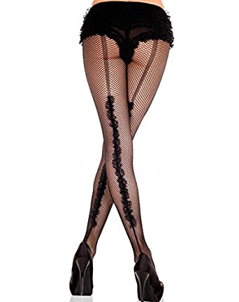 f8a13a15139a6d Music Legs Back Seam Fishnet Tights with Ruffle: Amazon.co.uk: Clothing