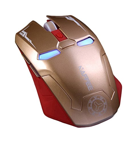 TENMOS G5 2.4GHz Optical Soundless Wireless Gaming Mouse Silent Click for PC Computer Desktop Laptop (Gold)