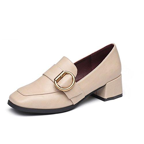 nbsp;heel nbsp;square nbsp;leather nbsp;sleeve nbsp;shoe nbsp;footwomen's nbsp;female nbsp;small apricot nbsp;head shoes nbsp;shallow Spring nbsp;shoes nbsp;mouth YA6nBz