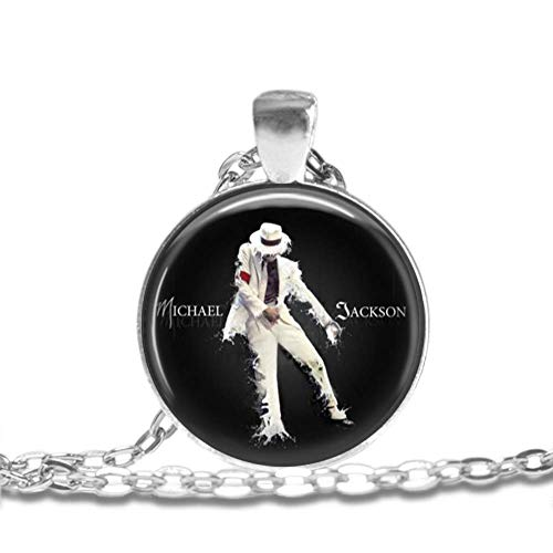 MICHAEL JACKSON - King Of Pop - Bezel Pendant Necklace Silver Plated AMZN35 (Michael Jackson Man In The Mirror Chords)