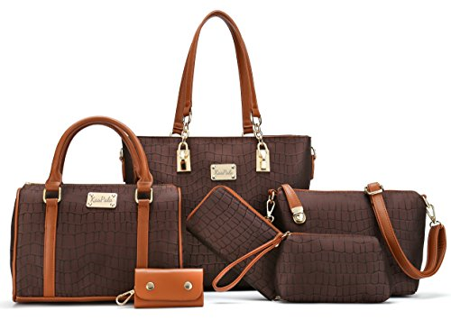 Women Shoulder Bag Tote Bag for Work Handbag and Purse 6 Piece Set Bag