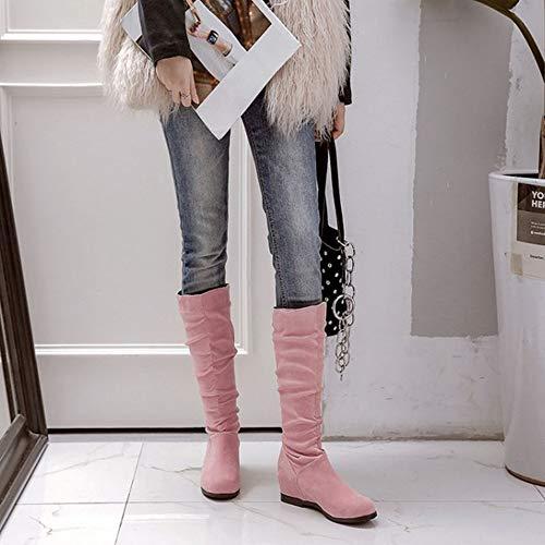 SJJH High Women Pink Wedge Boots Knee wUYrEU
