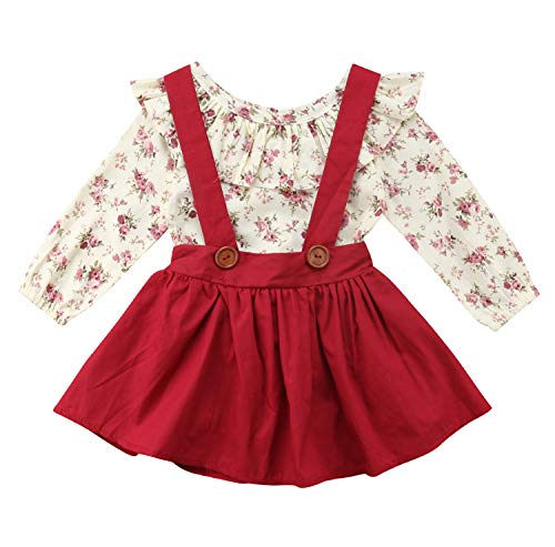Baby Girl 2pcs Outfits Floral Long Sleeve Ruffled T-Shirt Top+Suspender Braces Skirt Overalls (5-6 Years, Red)