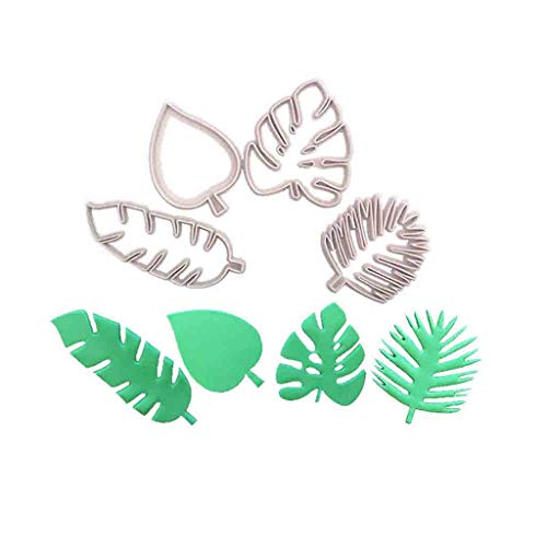 (weiadinga Cake Mold Tropical Leaves Fondant Cake Mold Embossed Candy Biscuits Cookie Cutter Handmade Baking Mold for Muffin Biscuit Chocolate Pumpkin Pie 4 silicone molds)