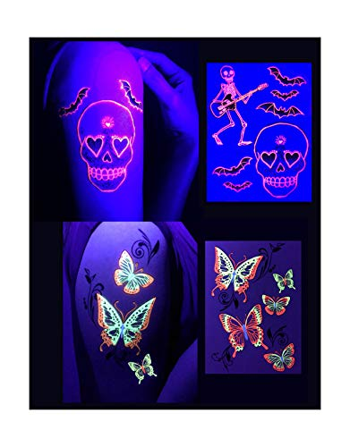 d'IRIS studio Glow Party Body Face Paint Ink Tattoos-Butterflies/Skulls-Blacklight Accessories Flash Toy Game Stickers Favor Dark Nightclub Electric Dance Music Festival Concert EDM Tattoo