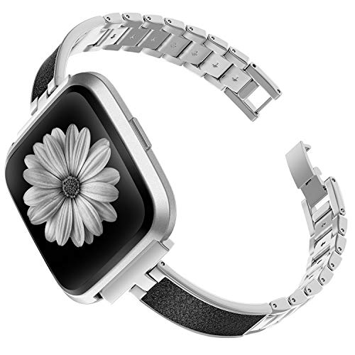 (TOYOUTHS Stylish Bracelet Compatible with Fitbit Versa Bands for Women Slim Strap Replacement Wristbands for Versa Lite Special Edition Stainless Steel Metal+Leather Bangle Accessories Silver )