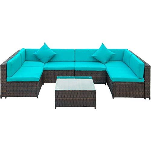 Patio Furniture Set PE Rattan Sectional Garden Furniture Corner Sofa Set (7 Pieces, Blue)