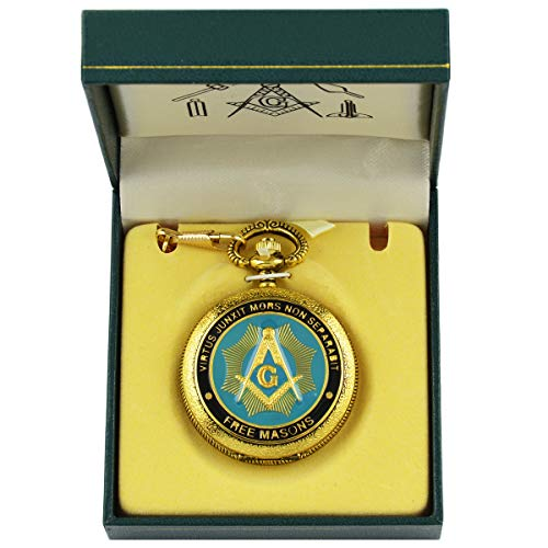 Virtus Junxit Mors Non Separabit Shining Square & Compass Blue & Gold Freemasons Masonic Pocket Watch - 2