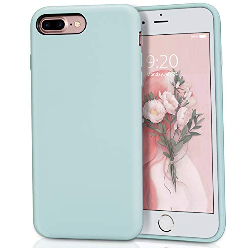 MILPROX Silicone Case, Pretty Series Liquid Silicone Gel Rubber, Shockproof Case with Microfiber Cloth Lining Cushion Compatible with iPhone 7 Plus/8 Plus - Mint -