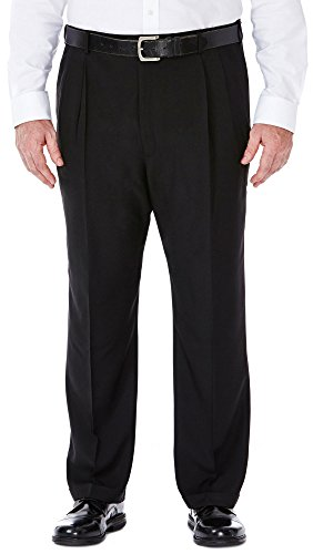 Haggar Men's Big-Tall Repreve Stria Pleat Front Dress Pant, Black, 44x34 by Haggar