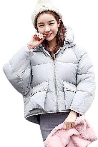 Hoodie La Acolchado Grueso Caliente Mujer Lightgrey Invierno Casual Zip Outwear Parkas Corta 6qnAxaqw
