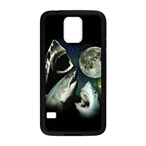 Samsung Galaxy S5 Case,Terrifying Sharks Moon With Wide Opened Mouth And Sharp Teeth Hign Definition Unique Design Cover With Hign Quality Rubber Plastic Protection Case
