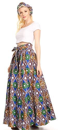 Sakkas 16317 - Asma Convertible Traditional Wax Print Adjustable Strap Maxi Skirt | Dress - 48-Multi - OS