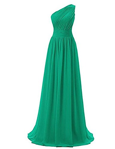 Mousseline De Soie Cdress Longues Robes De Demoiselle D'honneur Une Robe De Soirée De Bal Maxi Épaule Robes De Fête Formelle Vert