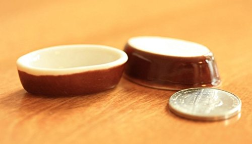 (artisan hand made Dollhouse Miniature Set of 2 Brown & White Casserole Dishes)