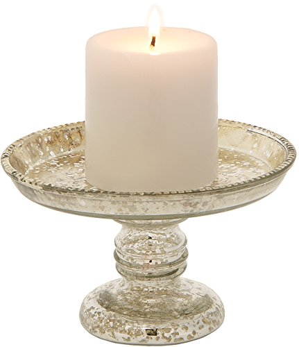 Luna Bazaar Mercury Glass Pillar Candle Holder (4-Inch, Silver, Linda Design)