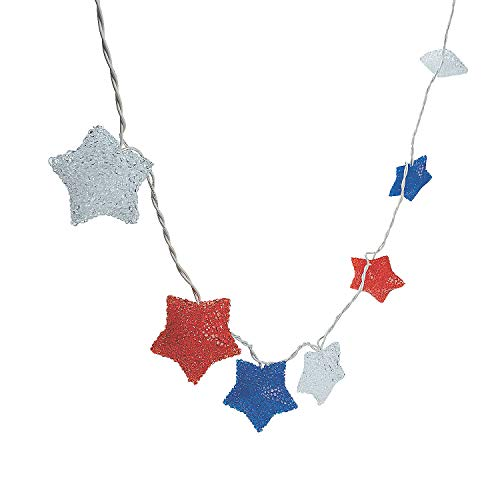 Red White and Blue Star Light String for Fourth of July - Home Decor - Outdoor - Lighting - Fourth of July - 1 Piece from Fun Express