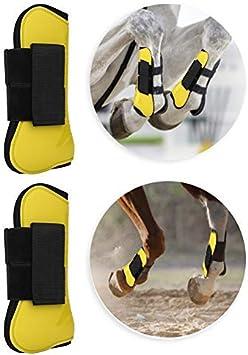 Botas deportivas con ventilación para la PU Protegido para la parte delantera trasera del caballo Botas para la pierna delantera trasera Proteger las envolturas de soporte Cubierta ajustable(Amarillo)