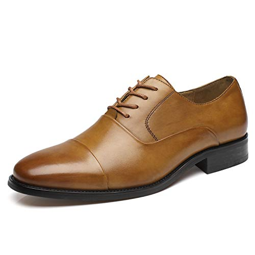 La Milano Men's Lace Up Oxfords Classic Modern Round Cap Toe Formal Leather Dress Shoes for -