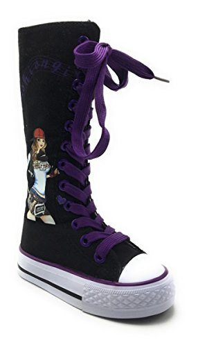 Girls Kids New Dev-10 Canvas Tall Punk Skate Classic Dancing Boot Sneakers Shoes, Consider Going 1 Size up Black/Purple-f1105