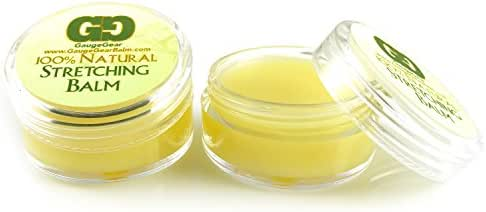 Gauge Gear Twin Pack - Ear Stretching Balm   All Natural Natural Healing Salve w/Jojoba Oil   Stretched or Damaged Skin Care   Piercing Aftercare   Two 10 ml Jars   Lubricant