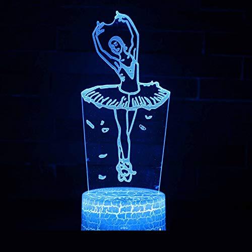 QIANDONG1 Bailarina de Ballet 3D Pequeña lámpara de Noche Led Visual Luz Nocturna Nocturna Interruptor táctil táctil Base...