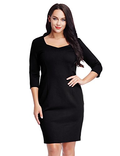 lookbookstore-women-plus-size-3-4-sleeve-bodycon-pencil-sheath-knee-length-dress-14w