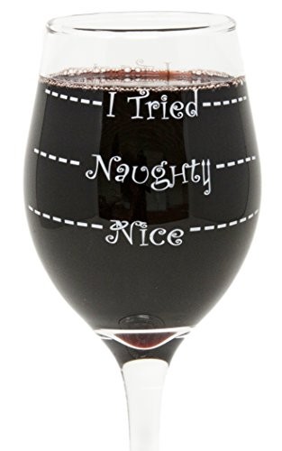 Funny Guy Mugs Nice Naughty I Tried Christmas Wine Glass, 11-Ounce - Unique Gift for Women, Mom, Daughter, Wife, Aunt, Sister, Girlfriend, Teacher or Coworker (Several Styles To Choose From)