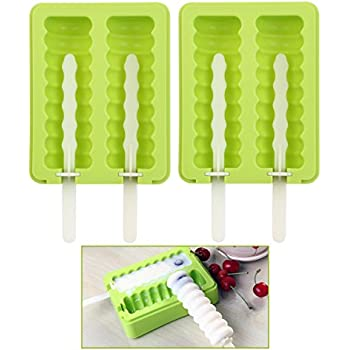 OUNONA Silicone Popsicle Molds Popsicle Maker Ice Pop Molds BPA Free with Lid Set of 2